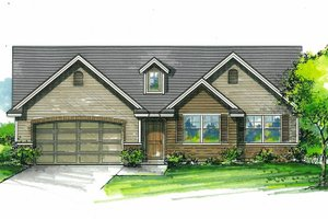 Architectural House Design - Craftsman Exterior - Front Elevation Plan #53-612