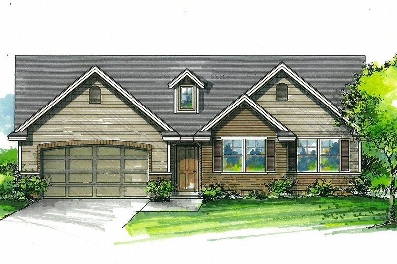Architectural House Design - Craftsman Exterior - Front Elevation Plan #53-612