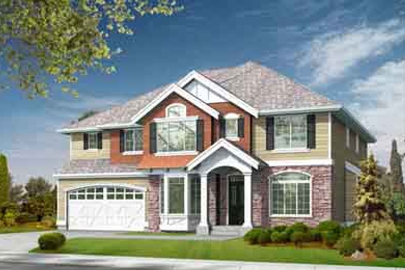 Traditional Style House Plan - 4 Beds 2.5 Baths 2980 Sq/Ft Plan #132-137 Exterior - Front Elevation