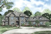 European Style House Plan - 4 Beds 3.5 Baths 4378 Sq/Ft Plan #17-2380 Exterior - Front Elevation