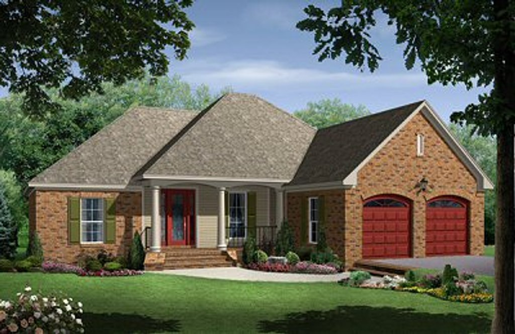 European Style House Plan - 4 Beds 3 Baths 1750 Sq/Ft Plan #21-214 on