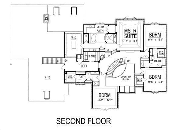 European Floor Plan - Upper Floor Plan #458-23
