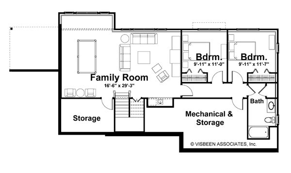 Ranch Floor Plan - Lower Floor Plan Plan #928-5