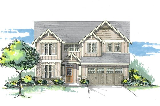 Craftsman Exterior - Front Elevation Plan #53-452