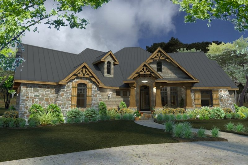 Home Plan - Lodge craftsman house by David Wiggins - 2900 sft with great indoor and outdoor living Houseplans #120-172