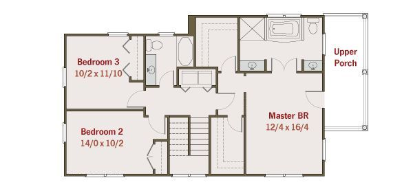 Southern Floor Plan - Upper Floor Plan #461-33