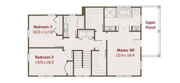 Southern Floor Plan - Upper Floor Plan #461-33