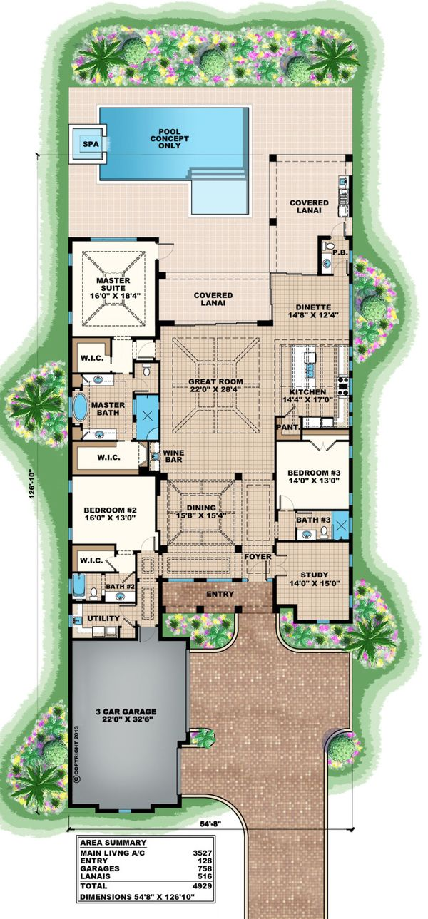 Beach Style House Plan - 3 Beds 3.5 Baths 3527 Sq/Ft Plan #27-492 Floor Plan - Main Floor Plan