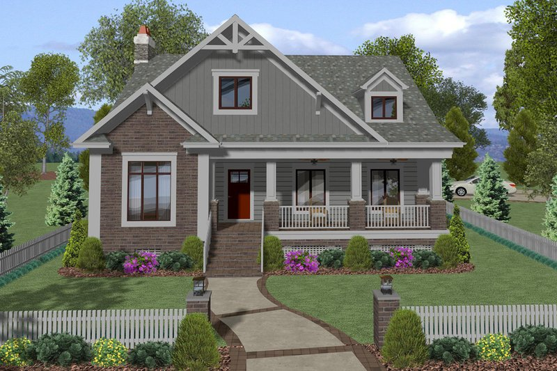 Craftsman Style House Plan - 5 Beds 4 Baths 2872 Sq/Ft Plan #56-720 Exterior - Front Elevation