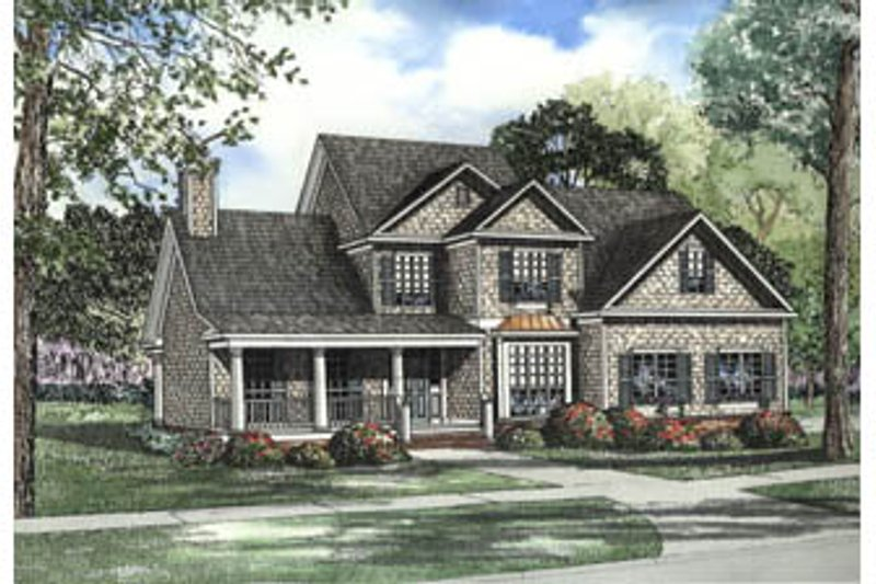 Traditional Style House Plan - 5 Beds 3 Baths 3248 Sq/Ft Plan #17-2073 Exterior - Front Elevation