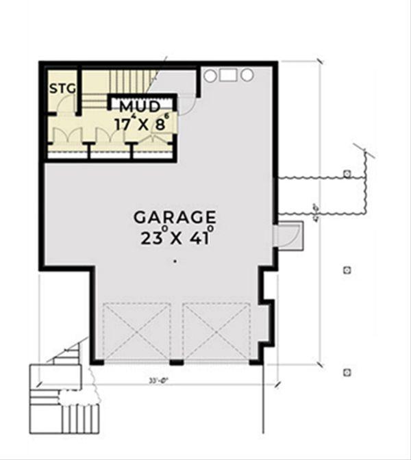Contemporary Floor Plan - Lower Floor Plan Plan #1070-7