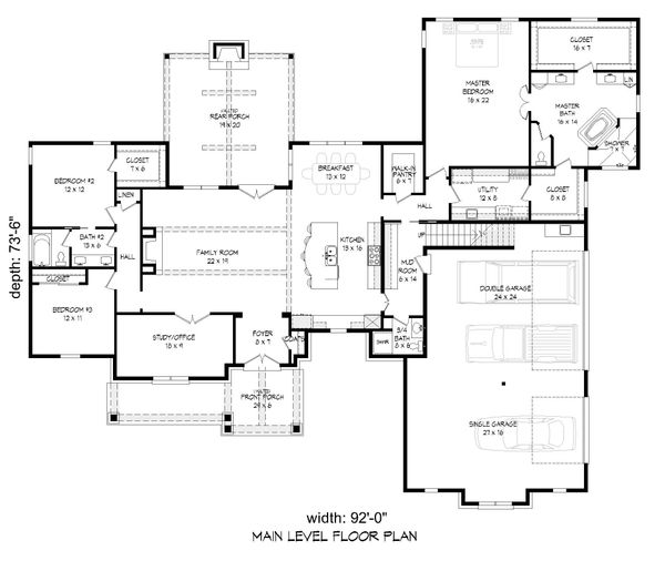 Traditional Floor Plan - Main Floor Plan Plan #932-166