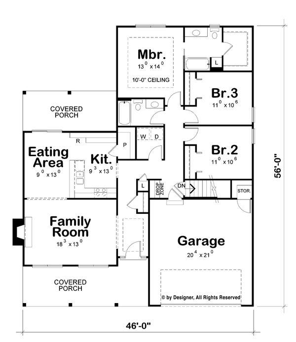 House Plan Design - Ranch Floor Plan - Main Floor Plan #20-2271