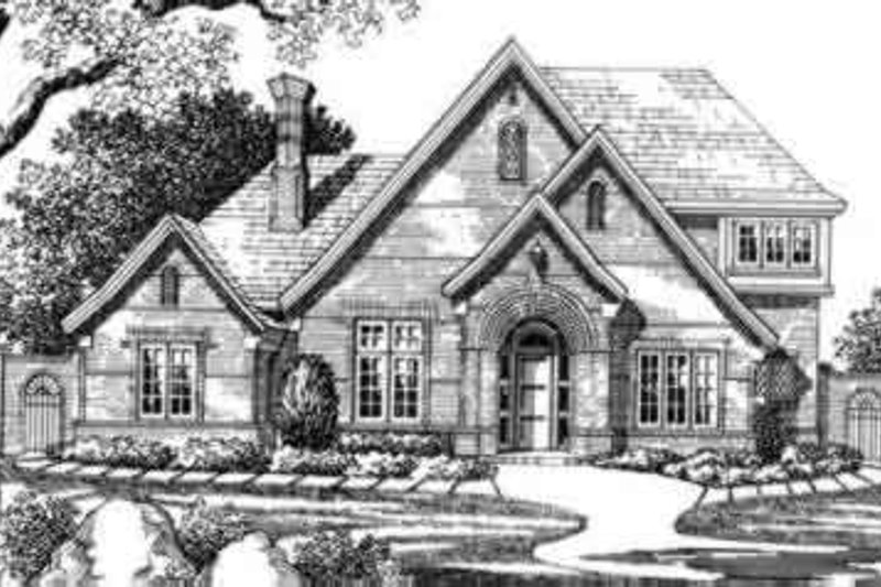 European Style House Plan - 4 Beds 4.5 Baths 3993 Sq/Ft Plan #141-121 Exterior - Front Elevation