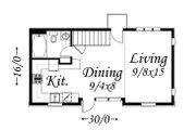 Traditional Style House Plan - 2 Beds 2 Baths 892 Sq/Ft Plan #509-16 Floor Plan - Main Floor Plan