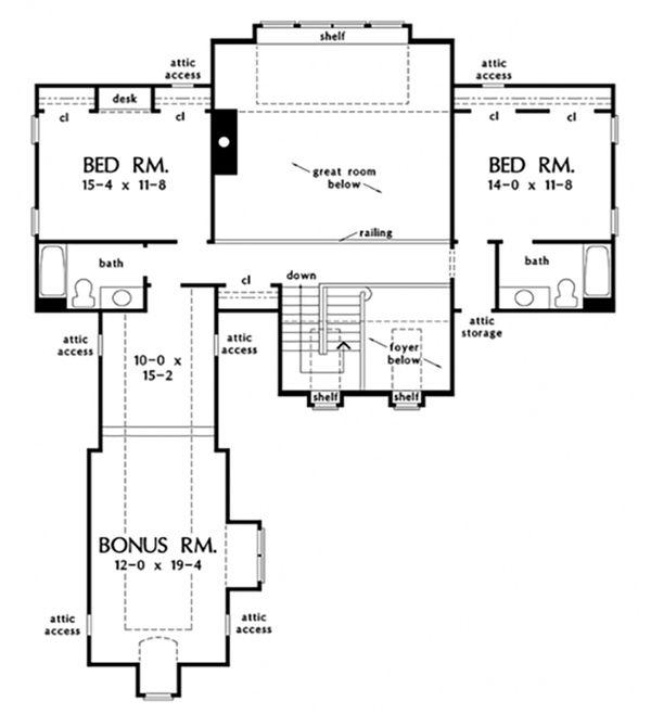 House Plan Design - Cottage Floor Plan - Upper Floor Plan #929-23