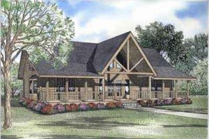 Log Exterior - Front Elevation Plan #17-502