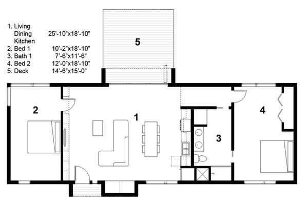 Modern Style House Plan - 2 Beds 1 Baths 1160 Sq/Ft Plan #497-29 Floor Plan - Main Floor Plan