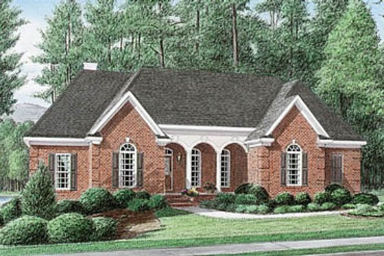 European Exterior - Front Elevation Plan #34-112