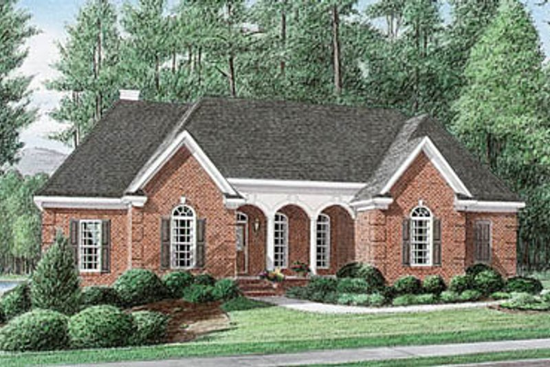 European Style House Plan - 4 Beds 2.5 Baths 2154 Sq/Ft Plan #34-112 Exterior - Front Elevation
