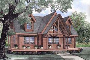 Log Exterior - Front Elevation Plan #17-517