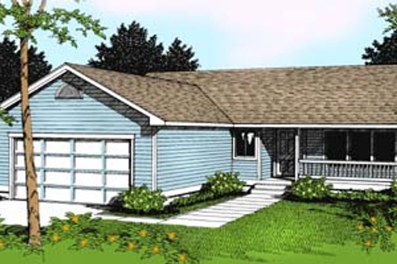 Traditional Style House Plan - 3 Beds 2 Baths 1506 Sq/Ft Plan #100-101 Exterior - Front Elevation