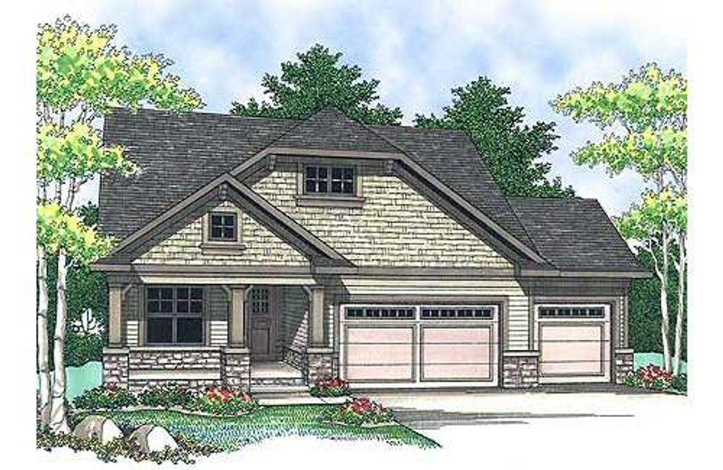 Craftsman Style House Plan - 2 Beds 2 Baths 1393 Sq/Ft Plan #70-899