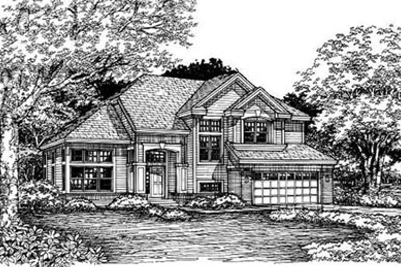 Traditional Style House Plan - 5 Beds 4 Baths 2742 Sq/Ft Plan #50-173 Exterior - Front Elevation