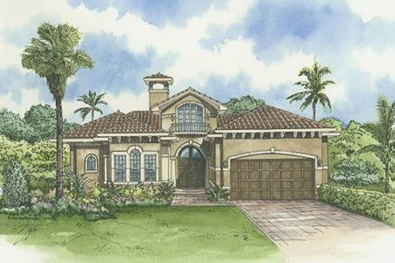 Mediterranean Style House Plan - 3 Beds 3.5 Baths 3368 Sq/Ft Plan #420-129 Exterior - Front Elevation