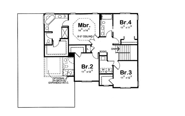 Dream House Plan - Traditional Floor Plan - Upper Floor Plan #20-2085