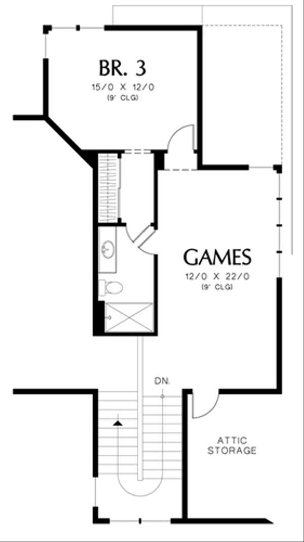 Craftsman Floor Plan - Upper Floor Plan Plan #48-463