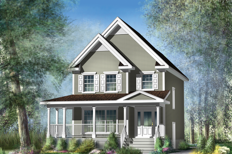 Country Style House Plan - 3 Beds 1 Baths 1396 Sq/Ft Plan #25-4338 Exterior - Front Elevation