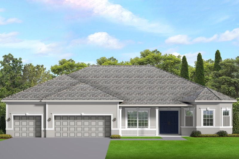 Ranch Style House Plan - 3 Beds 2.5 Baths 2477 Sq/Ft Plan #1058-196 Exterior - Front Elevation