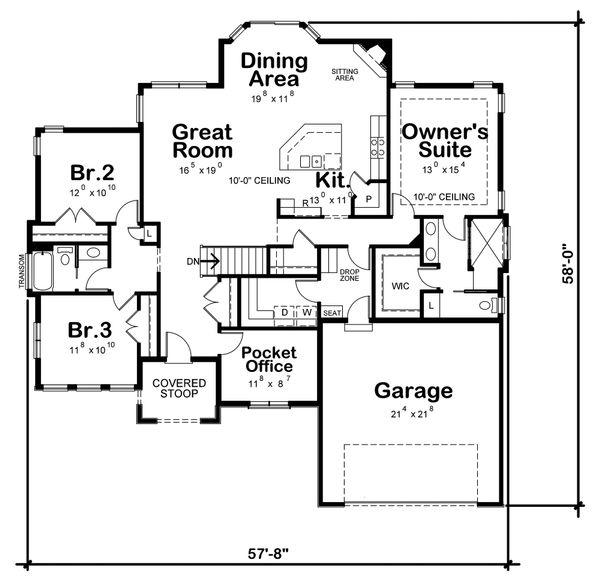 Home Plan - Ranch Floor Plan - Main Floor Plan #20-2330