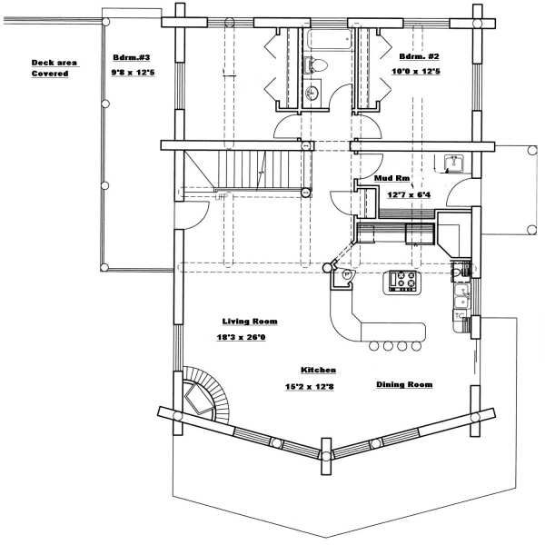 Log Floor Plan - Main Floor Plan Plan #117-415