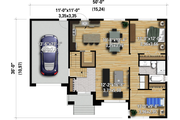 Contemporary Style House Plan - 2 Beds 1 Baths 1150 Sq/Ft Plan #25-4901