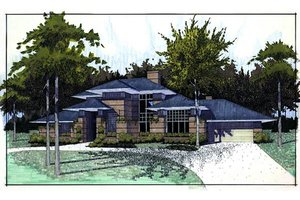 Prairie Exterior - Front Elevation Plan #120-117
