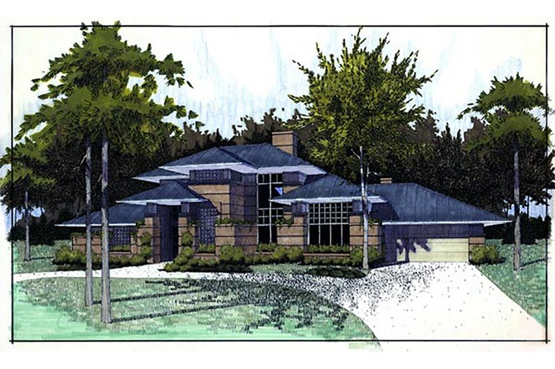 Prairie Style House Plan - 3 Beds 3 Baths 2394 Sq/Ft Plan #120-117 Exterior - Front Elevation