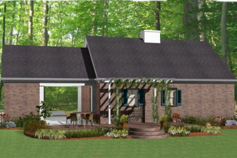Southern Exterior - Rear Elevation Plan #406-9619 - Houseplans.com
