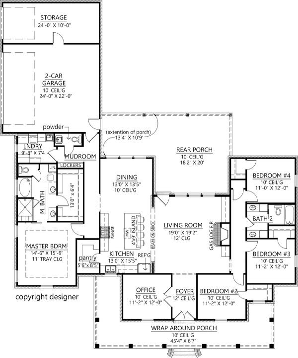 Dream House Plan - Farmhouse Floor Plan - Main Floor Plan #1074-18