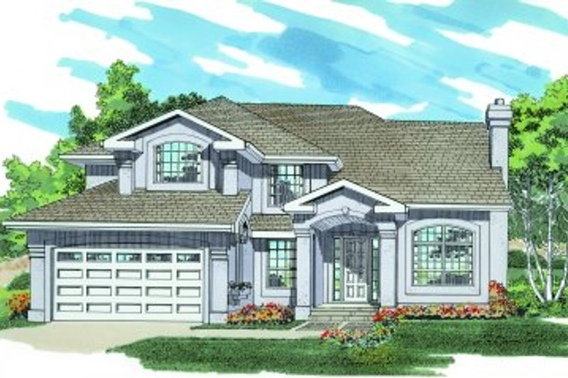 European Style House Plan - 4 Beds 3 Baths 2363 Sq/Ft Plan #47-482 Exterior - Front Elevation