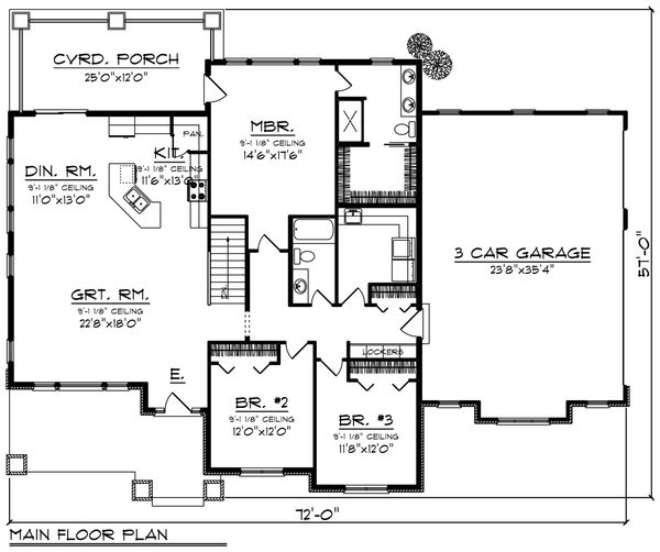 Ranch Floor Plan - Main Floor Plan Plan #70-1418