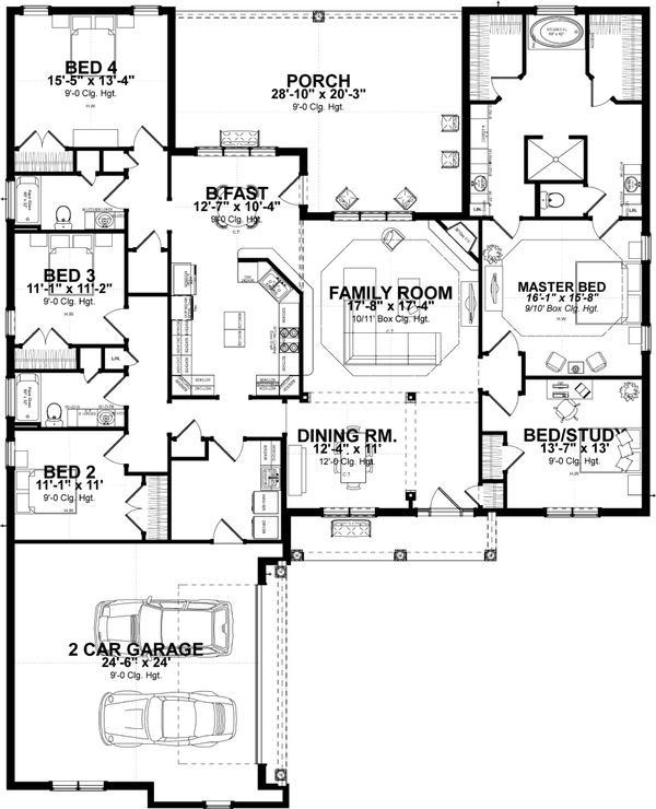 Traditional Floor Plan - Main Floor Plan Plan #63-407