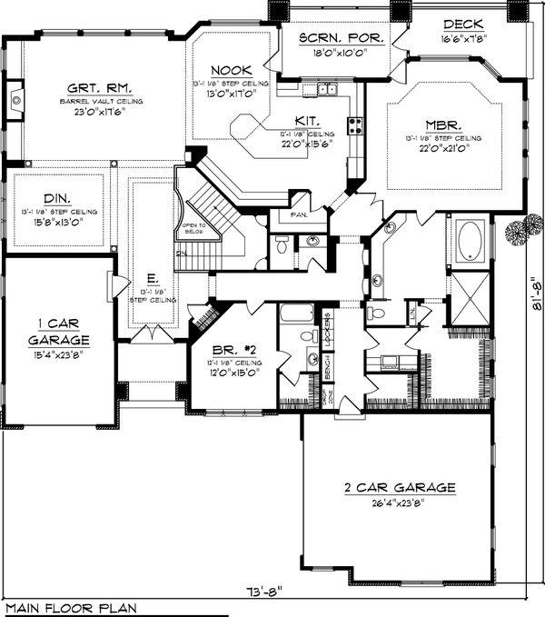 Ranch Floor Plan - Main Floor Plan Plan #70-1064