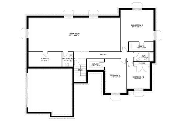 Dream House Plan - Ranch Floor Plan - Lower Floor Plan #1060-13