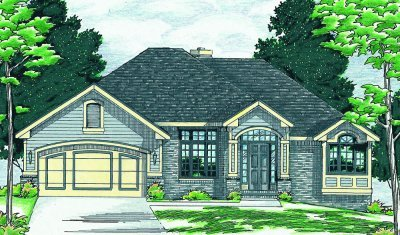 Traditional Exterior - Front Elevation Plan #20-155 - Houseplans.com