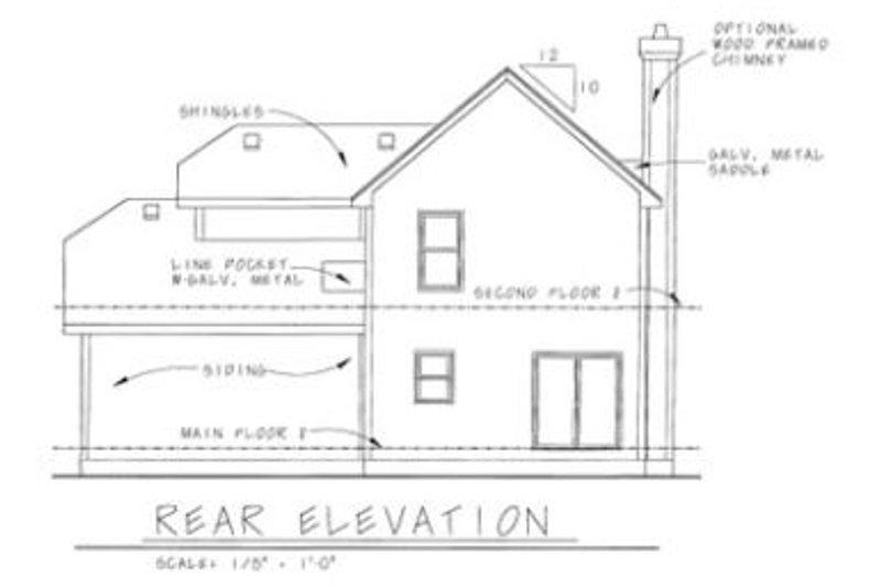 Craftsman Exterior - Rear Elevation Plan #20-1217 - Houseplans.com