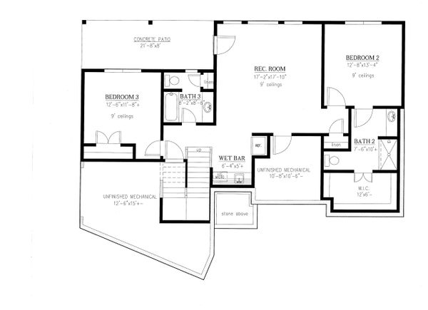 Ranch Floor Plan - Lower Floor Plan Plan #437-88