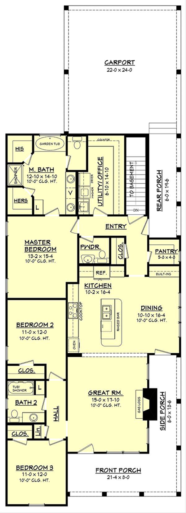 House Plan Design - Main Level w/ opt. basement stair