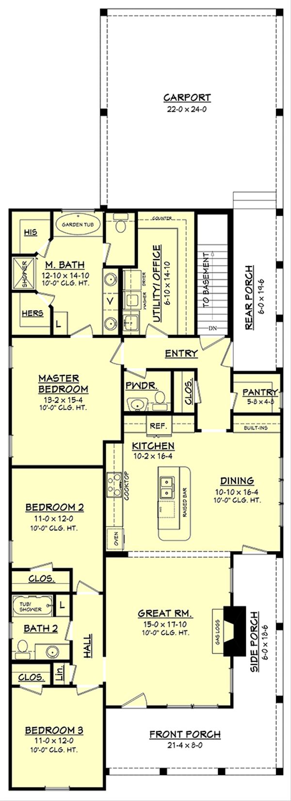 Dream House Plan - Main Level w/ opt. basement stair